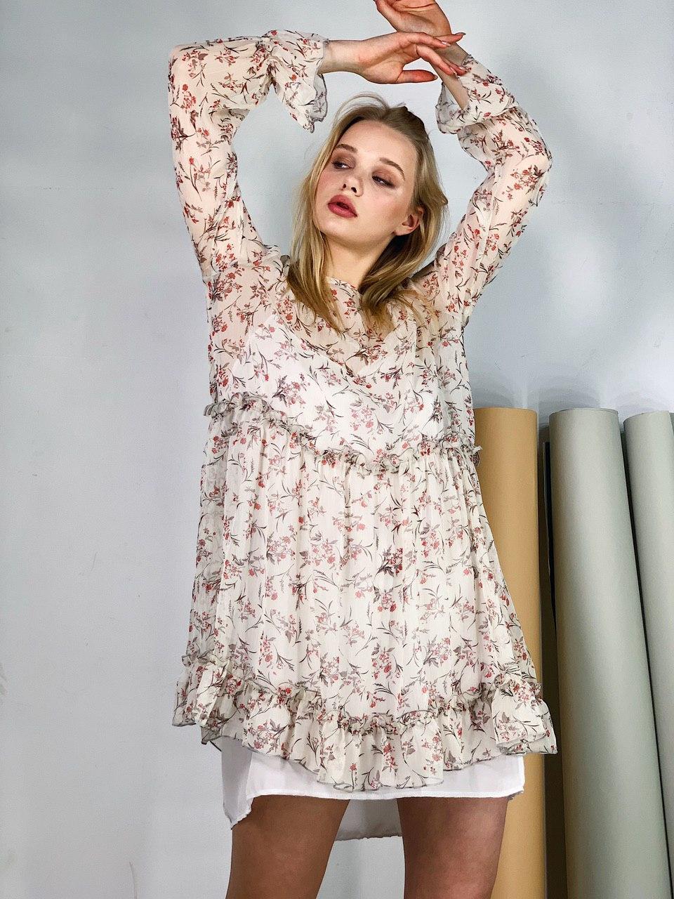 Женское шифоновое платье-двойка (SM и LXL)