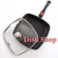 Сковорода-гриль с крышкой из литого алюминия с мраморным антипригарным покрытием со съемной ручкой Benson