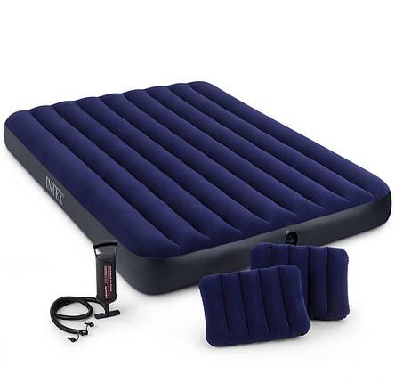 Двухместный надувной матрас Intex с подушками и ручным насосом, фото 2