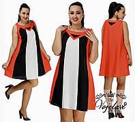 Льняное летнее трехцветное платье-трапеция больших размеров р.48-50. Арт-3086/41, фото 1