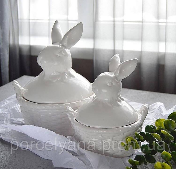 Керамическая пасхальная корзина Заяц 24 см Ewax