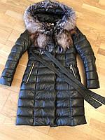 Женская Длинная дубленка-куртка кожаная с чернобуркой темно-зеленая