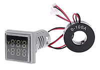 Вольтметр/амперметр AC 22мм 60-500В 0-100А - белый