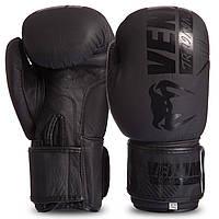 Боксерские перчатки кожаные для тренировок VENUM Натуральная кожа На липучке Черные (СПО MA-0703) 10 унций, фото 1