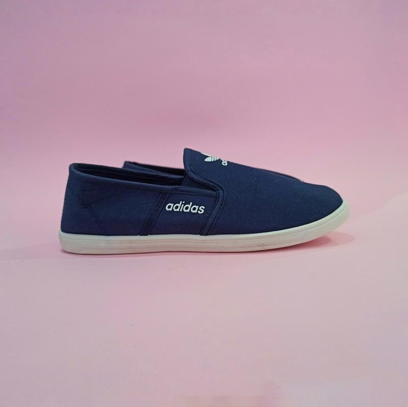 Adidas Мокасины слипоны кеды балетки  КОПИЯ  синие мягкие летние легкие