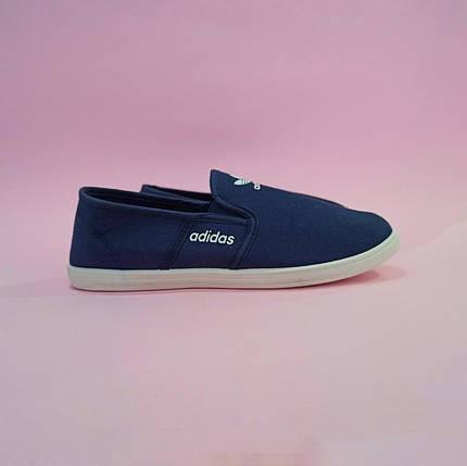 Adidas Мокасины слипоны кеды балетки  КОПИЯ  синие мягкие летние легкие, фото 2