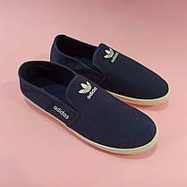 Adidas Мокасины слипоны кеды балетки  КОПИЯ  синие мягкие летние легкие, фото 3