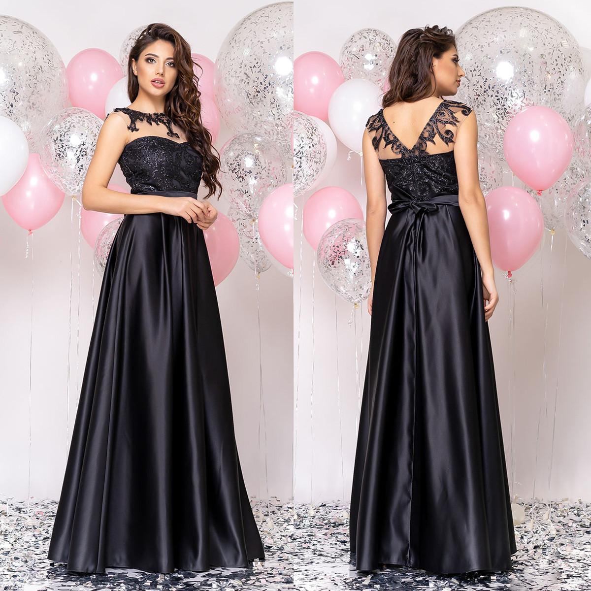 """Чорне атласне довге плаття в підлогу вечірнє, випускне """"Мілена"""""""