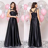 """Чорне атласне довге плаття в підлогу вечірнє, випускне """"Мілена"""", фото 1"""