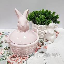 Керамическая пасхальная корзина Заяц 18 см Ewax