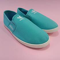 Adidas Мокасины слипоны кеды балетки  КОПИЯ  голубые бирюзовые зеленые мягкие летние легкие, фото 3