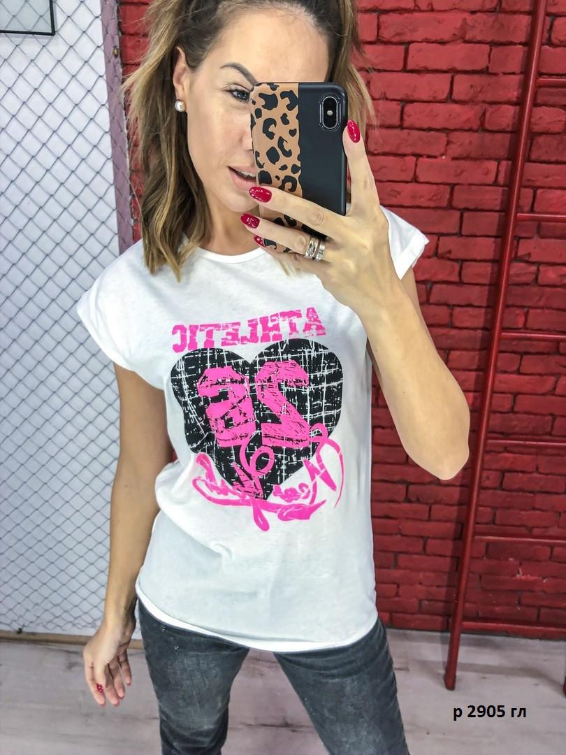 Женская футболка с сердцем р 2905 гл