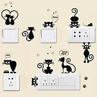 """Виниловые наклейка на стену, выключатели, розетки """"Игривые котята"""" 10шт (лист 25см*70см)"""