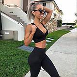 Спортивний костюм жіночий для фітнесу. Комплект лосини і топ для йоги, спорту, тренувань, розмір M (чорний), фото 2