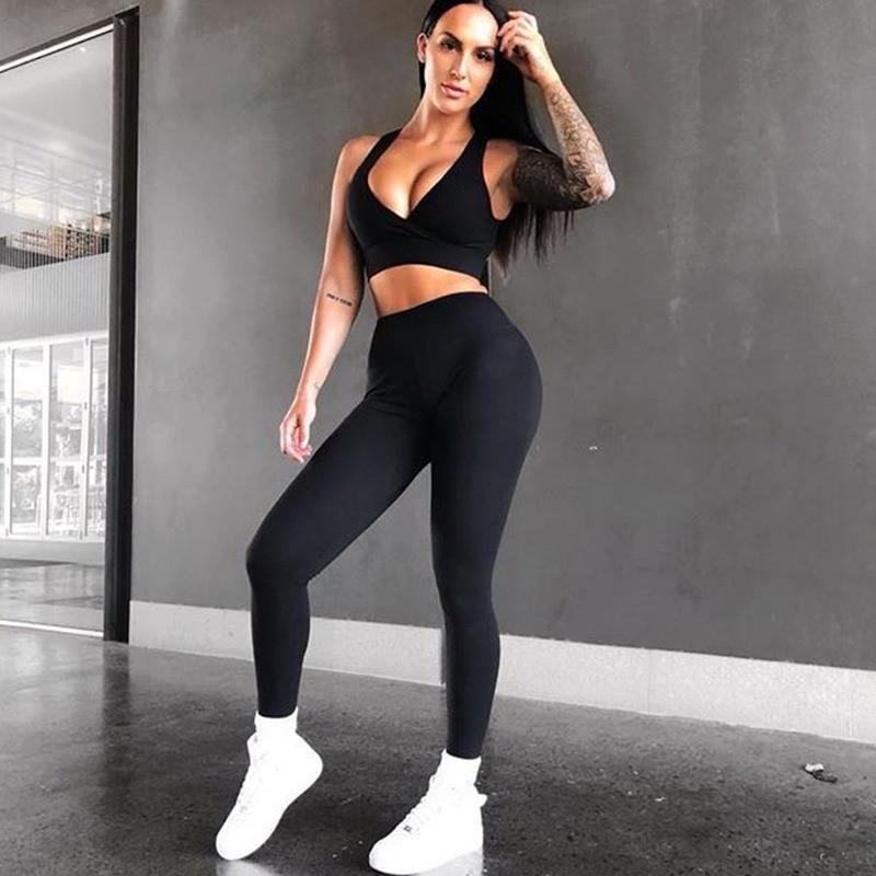 Спортивний костюм жіночий для фітнесу. Комплект лосини і топ для йоги, спорту, тренувань, розмір M (чорний)