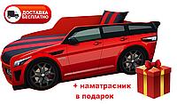 Кровать детская PREMIUM, Кровать машина с матрасом Премиум Land Rover красный