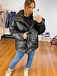 Кожаная женская теплая куртка свободная на кнопках с воротником - стойкой vN6776, фото 4