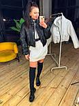 Женская короткая кожаная куртка бомбер на молнии vN6778, фото 3