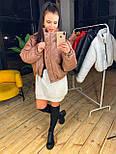 Женская короткая кожаная куртка бомбер на молнии vN6778, фото 5