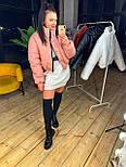 Женская короткая кожаная куртка бомбер на молнии vN6778, фото 6