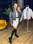 Женская короткая кожаная куртка бомбер на молнии vN6778, фото 7