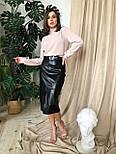 Черная женская юбка - карандаш кожаная с поясом и разрезом спереди vN6812, фото 2