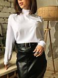 Черная женская юбка - карандаш кожаная с поясом и разрезом спереди vN6812, фото 3