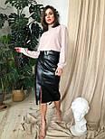 Черная женская юбка - карандаш кожаная с поясом и разрезом спереди vN6812, фото 4