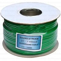 Кабель микрофонный Sound Stream 2 жилы, 25×0.12мм, Cu, Ø6мм, зелёный, на катушке, 100м