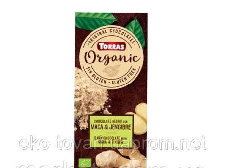 Черный шоколад Torras ORGANIC (с перуанской макой и имбирем), 100г