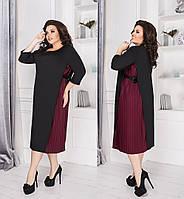 Женское стильное платье свободного кроя с вставкой плиссе производство Украина M1830