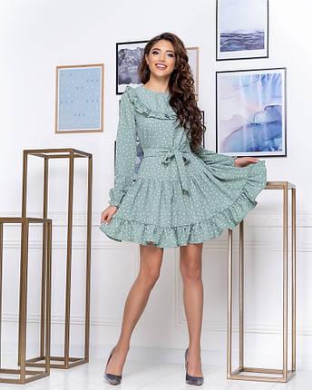 """Милое платье-мини в горошек """"Alien"""" с оборками и поясом (3 цвета), фото 2"""