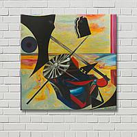 Картина на холсте Настенный декор Абстрактная картина Дизайн комнаты Декорация стен Желтая картина