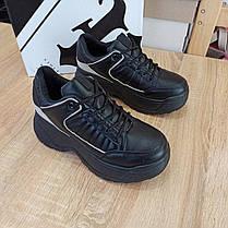 ТІЛЬКИ 38 РОЗМІР 24,5 см Кросівки чорні високі на товстій підошві в стилі fila disruptor чорні, фото 2