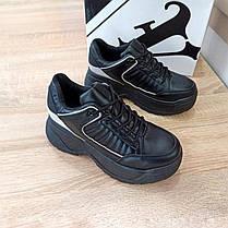 ТІЛЬКИ 38 РОЗМІР 24,5 см Кросівки чорні високі на товстій підошві в стилі fila disruptor чорні, фото 3