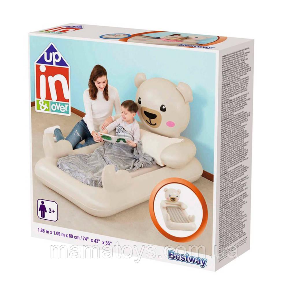 Детская Надувная кровать Велюр BW 67712 мишка Teddy, 188-109-89 см, от 3-х лет