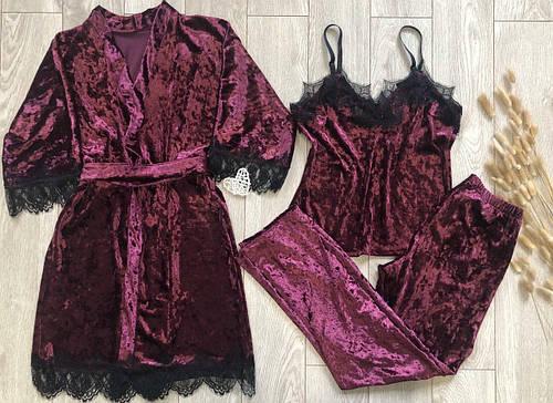Женский набор четверка халат пеньюар штаны велюр бордо