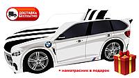 Кровать детская PREMIUM, Кровать машина с матрасом Премиум BMW  белый
