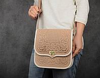 """Кожаная сумка ручной работы с тисненым орнаментом """"Фундук"""", большая бежевая кожаная сумка через плечо"""
