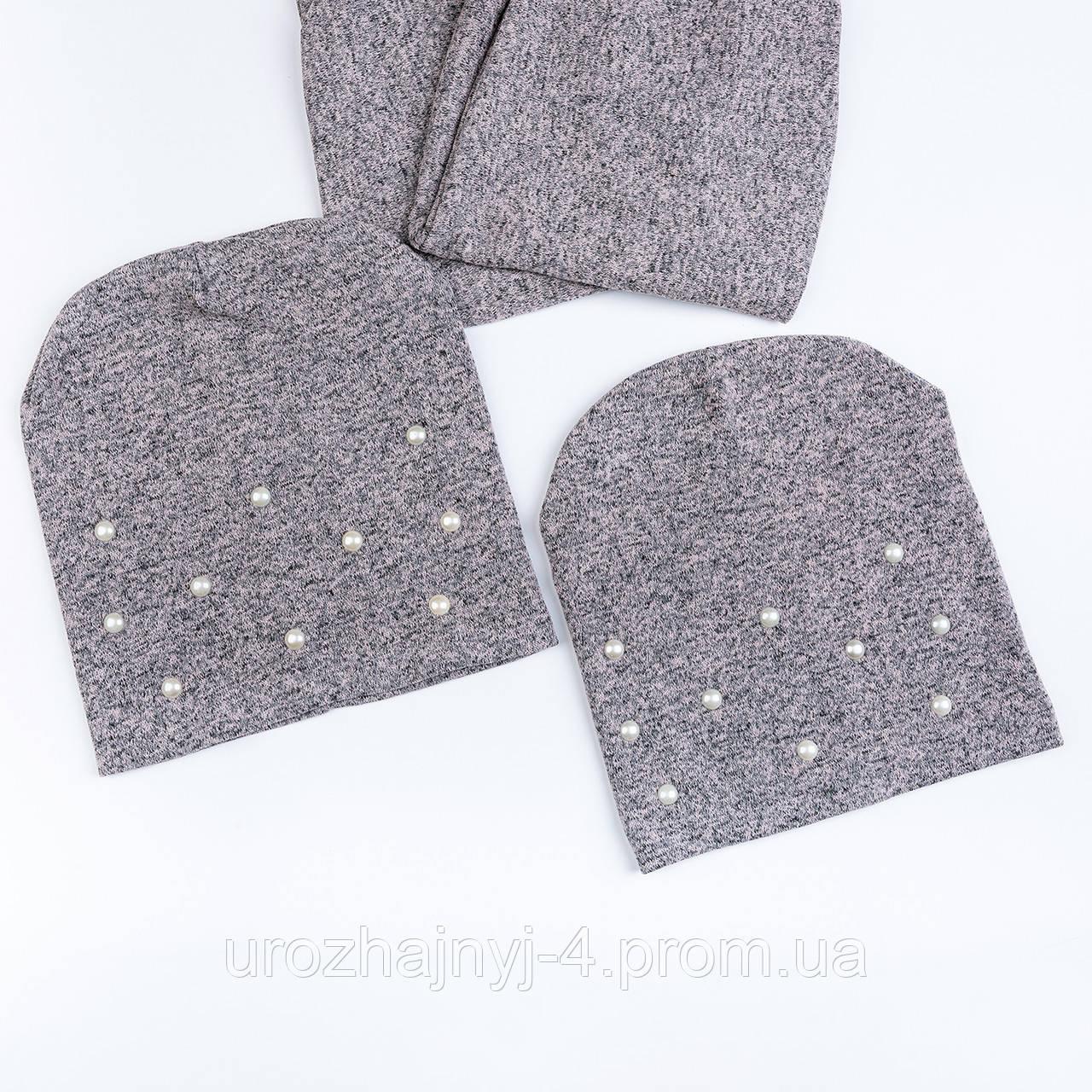 Трикотажный комплект шапка и хомут на подкладке х/б р50-52 поштучно