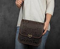 """Кожаная сумка ручной работы с тисненым орнаментом """"Фундук"""", большая коричневая кожаная сумка через плечо"""