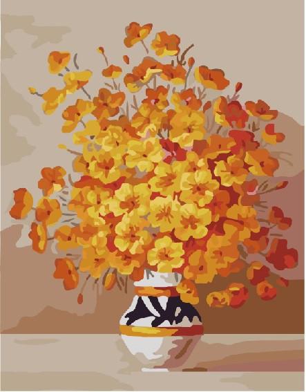 """Картина за номерами Brushme """"Жовті квіти у вазі"""", 40*50см, GX7333"""