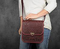 """Кожаная сумка ручной работы с тисненым орнаментом """"Фундук"""", большая бордовая кожаная сумка через плечо, фото 1"""
