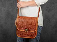 """Кожаная сумка ручной работы с тисненым орнаментом """"Фундук"""", большая рыжая кожаная сумка через плечо, фото 1"""