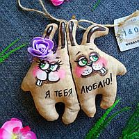 Ароматизированная Мягкая Зайци неразлучники игрушка ручной работы с запахом кофе, ванили и корицы