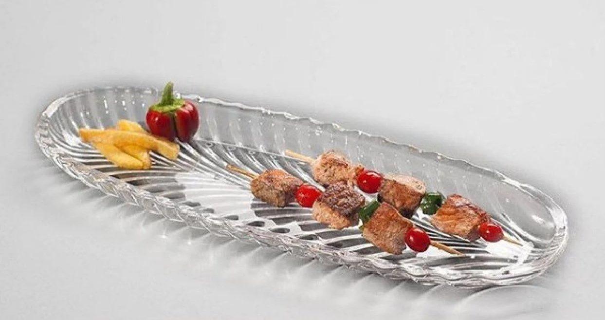 """Блюдо длинное стеклянное Isfahan """"Elliptical Santa"""" 33 см (ВМ1110)"""