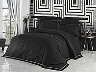 Комплект постельного белья First Choice Novel Line Siyah сатиновый 220-160 см черный