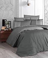 Комплект постельного белья First Choice Square Duet Fume Duman сатиновый 220-160 см серый