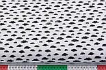 """Лоскут ткани """"Маленькие облака разных размеров"""" чёрные на белом, коллекция Mini-mikro, №2604а, размер 38*70 см, фото 3"""