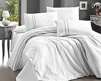 Комплект постельного белья First Stripe Style Beyaz сатиновый 220-160 см белый
